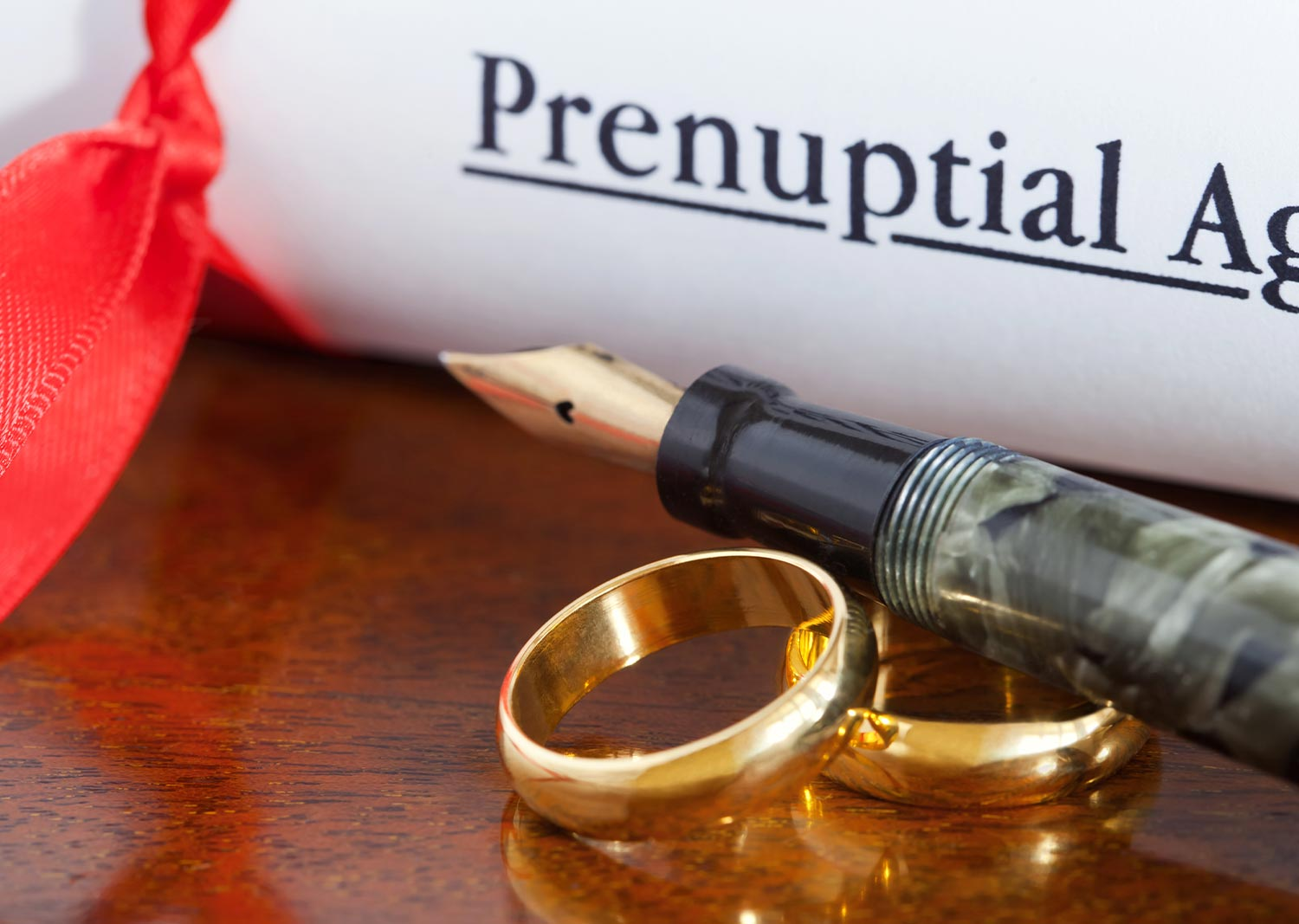 Conceptual photo of prenuptial agreement